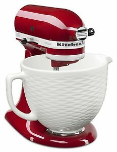 white kitchen aid moen faucet kitchenaid 5 qt embossed ceramic bowl mixer accessory ksmcb5tlw