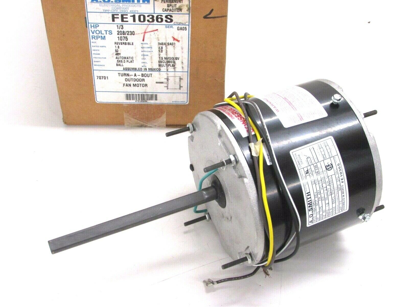 hight resolution of marathon electric 48a11t570 s88 158 condenser fan motor 1 3 hp 1075 rpm 208 230v for sale online ebay