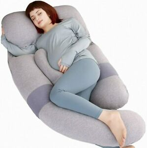 details about moon pine 60 inch pregnancy body pillow detachable u grey blue velvet jersey