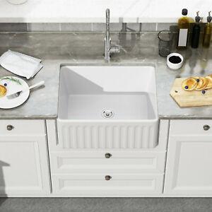 details about 24 inch white porcelain apron farmhouse kitchen sink single bowl ceramic sink