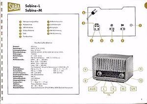 Service Manual Manual for Saba sabine-l, sabine-m Model