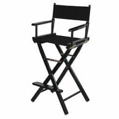 Tall Folding Chairs Directors How To Make Sex Chair 30 Inch Canvas Seat Black Wood Hair In Stylist Portable S