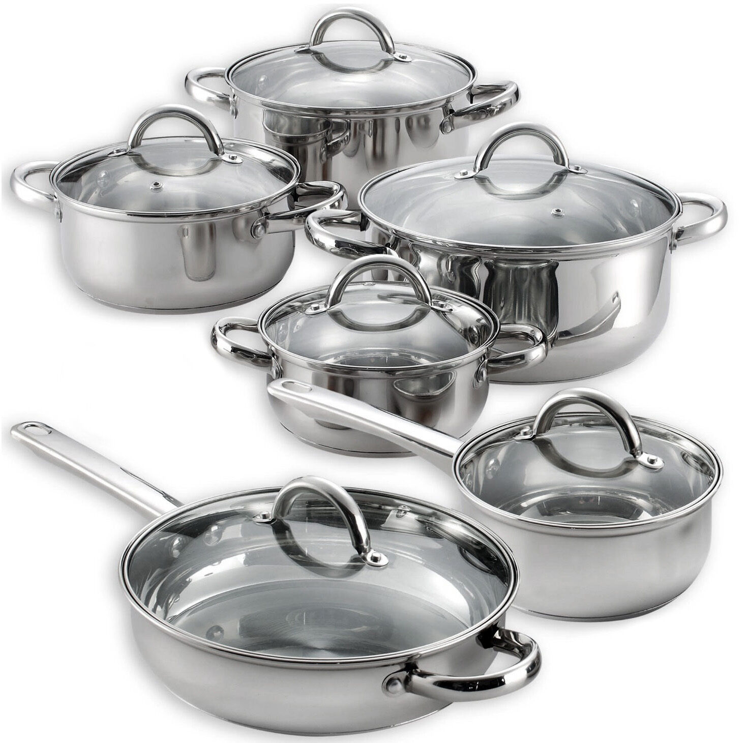 kitchen cookware sets table chandelier heim 39s 12 pieces cooking pots and pans stainless