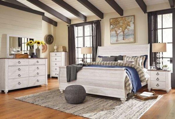 white king bedroom furniture sets Ashley Furniture B267 Willowton - White Queen King Sleigh
