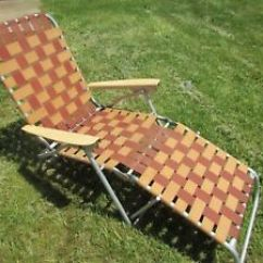 Webbed Chaise Lounge Chairs Barber Chair Philippines Vintage Retro Aluminum Folding Lawn Image Is Loading