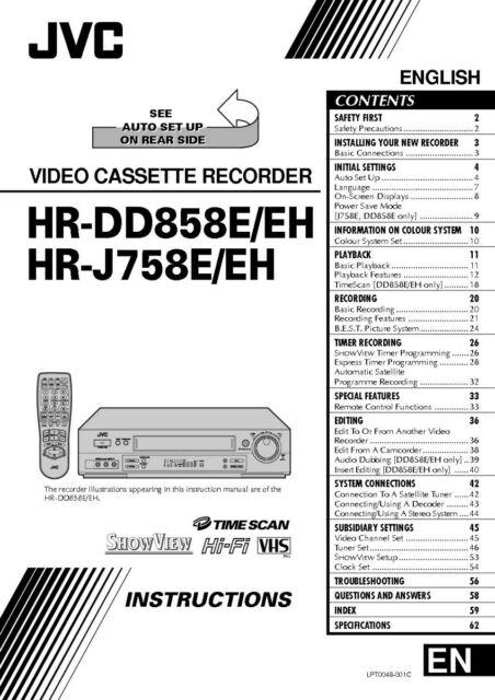 JVC HR-DD858E HR-DD858EH HR-J758E HR-J758EH VCR Owners