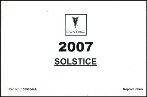 Solstice 2007 Owners Manual Pontiac Book Owner's for sale
