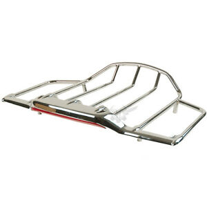 Chrome LED Lighted Airwing & Luggage Rack for Harley