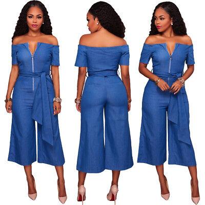Sexy Blue Denim Off Shoulder Wide Leg Pants Slim Jumpsuit Playsuit Bodysuit