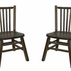 Distressed Kitchen Chairs Kraftmaid Cabinet Prices Set Of 2 Barnwood Oak Dining With Spindle Image Is Loading