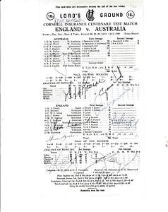 ENGLAND V AUSTRALIA CENTENARY TEST LORD'S 1980 SCORE CARD