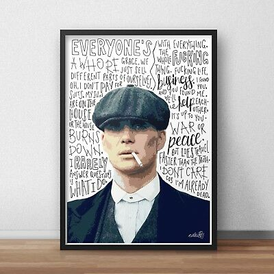 thomas shelby poster print wall art a4 a3 a2 a1 the peaky blinders tommy ebay