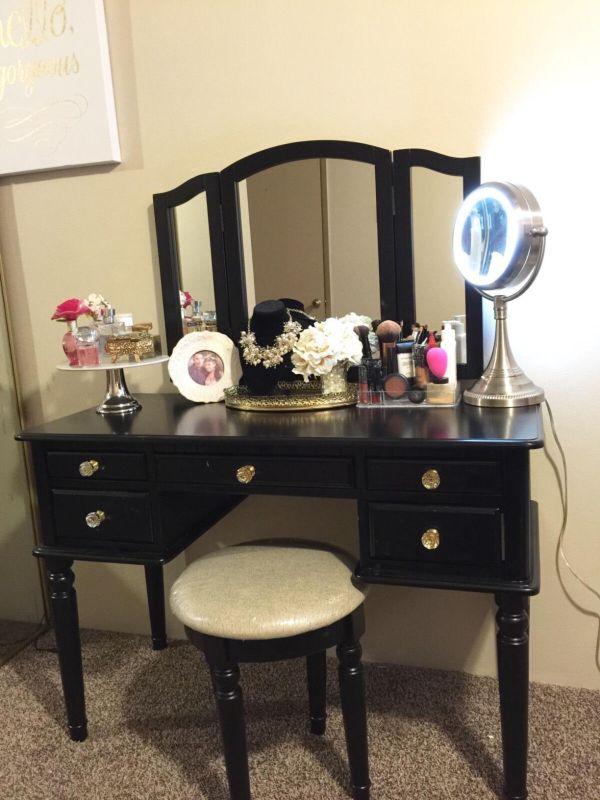 Wood Vanity Set Makeup Table Chair Mirror Dresser Desk