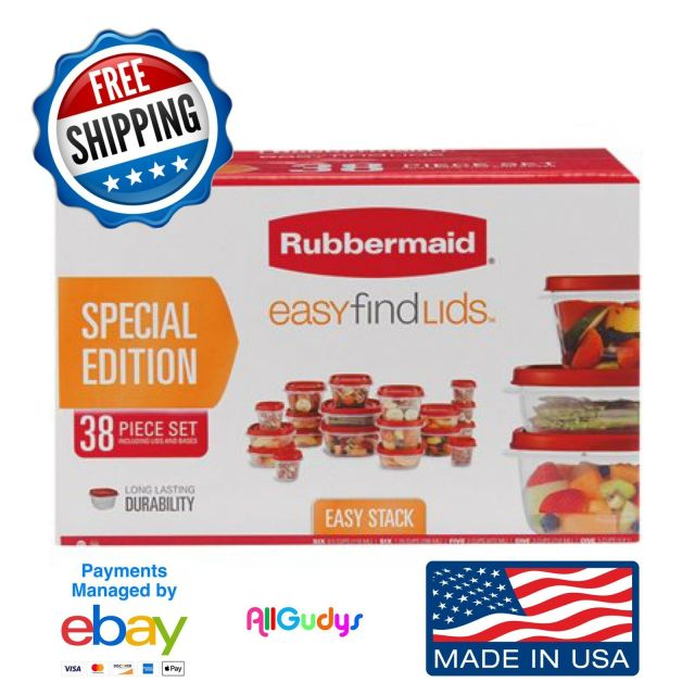 Rubbermaid Food Storage 38 Piece Set with Easy Find Lids, Red SPECIAL EDITION 2