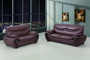 genuine leather sofa and loveseat sofas uk modern brown set 2 pcs maxwest image is loading