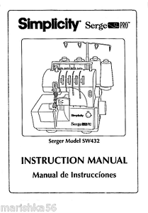 SIMPLICITY SW432 SERGER INSTRUCTION Book /OPERATING MANUAL