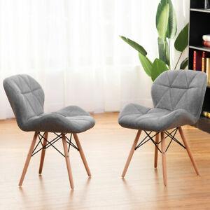 details sur 2x chaise salle a manger rembourree en tissu souple pieds en bois moderne