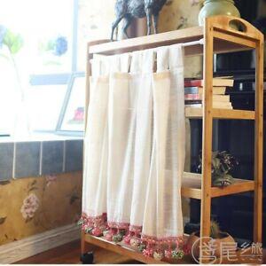 details sur 1x demi rideau lin meuble cuisine cantonniere panneau dentelle pom pom bord chic retro afficher le titre d origine