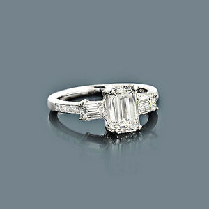 Diamant Ring Platin 225 ct 150 Karat Smaragdschliff Diamant im Center G VS  eBay