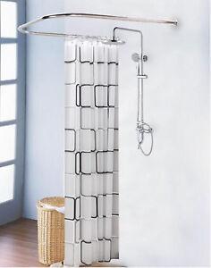 details about bathroom u shaped corner shower curtain rod pole decorative stainless steel au