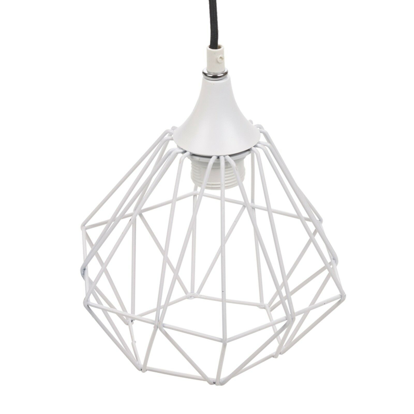 Modern White Geometric Metal Wire Hanging Ceiling Light