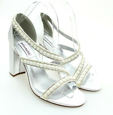 Dyeables LINDA White Satin Bridal Wedding Pearl Strappy Open Toe Block Heels 7M | eBay