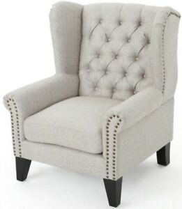 tufted nailhead chair white gaming argos beige wingback club accent arm chairs image is loading