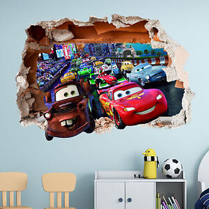 Disney Cars Mural Wallpaper Ebay Disney Cars Wall Sticker 3d Boys Girls Bedroom Vinyl Wall