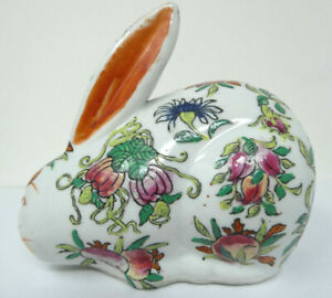 Antique Chinese Porcelain Rabbit Signed Hand Painted Fruit & Floral Decoration
