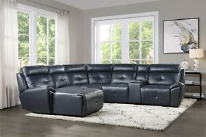 details about navy blue faux leather reclining sofa chaise sectional livingroom furniture