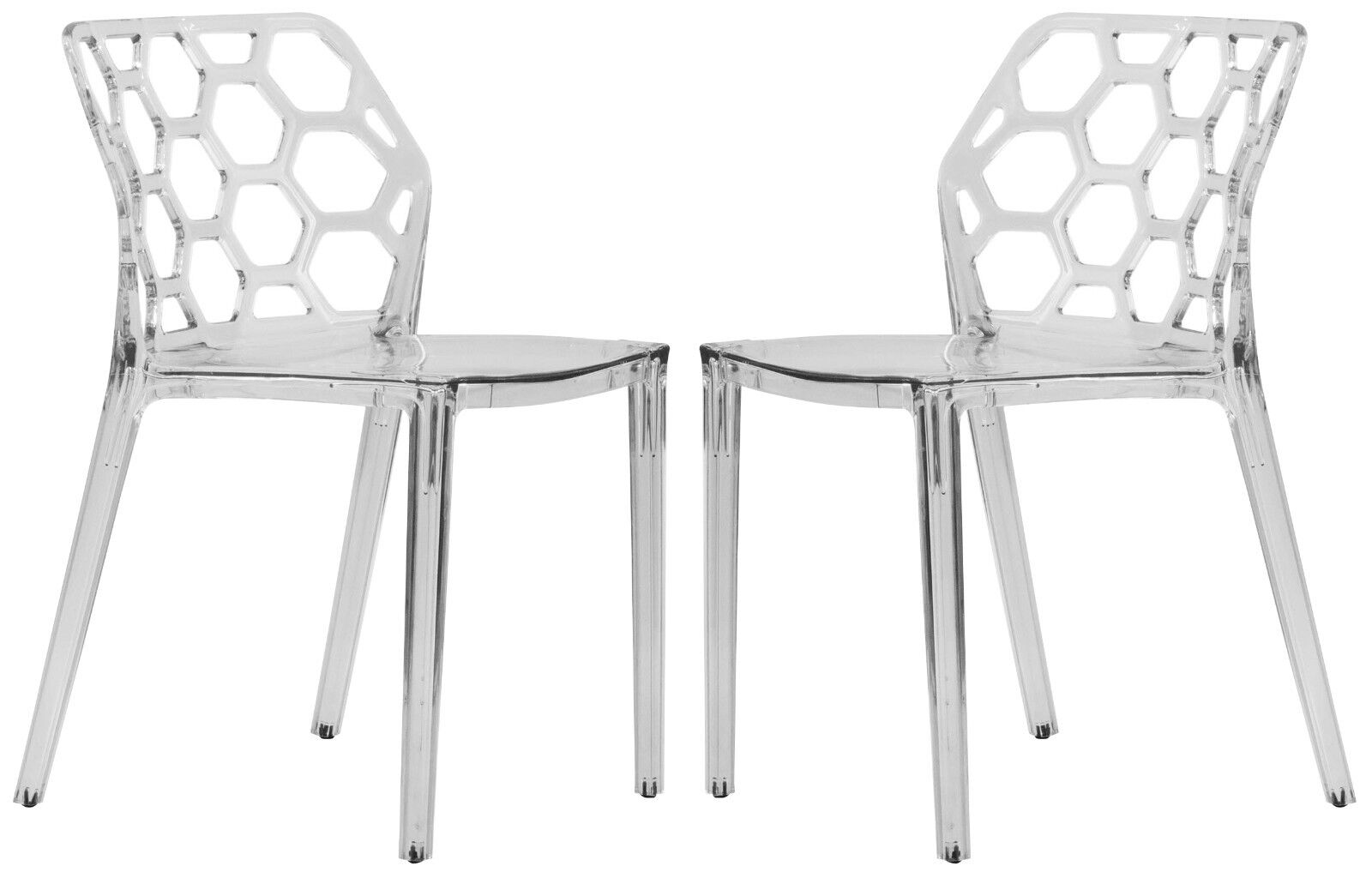 Plastic Clear Chair Dynamic Modern Acrylic Dining Chair In Clear Set Of 2 Ebay