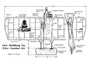 Carl Goldberg Jr Satan Size Balsa Model Airplane Kit