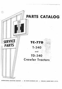 International Harvester T340 TD340 Crawler Tractor Parts