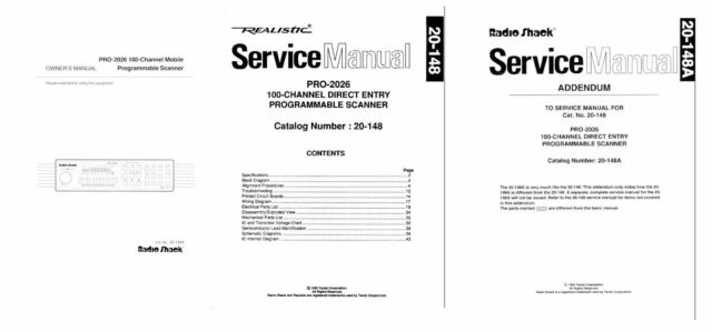 RADIO SHACK PRO-2026 PHOTOCOPY OPERATING MANUAL + SERVICE