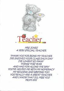 PERSONALISED THANK YOU TEACHER POEM LEAVING GRADUATION END