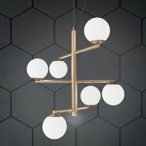 45 cm o 75 cm. Lampadario A Sospensione Moderno 6 Luci Metallo Oro Con Sfere Vetro Soffiato Ebay