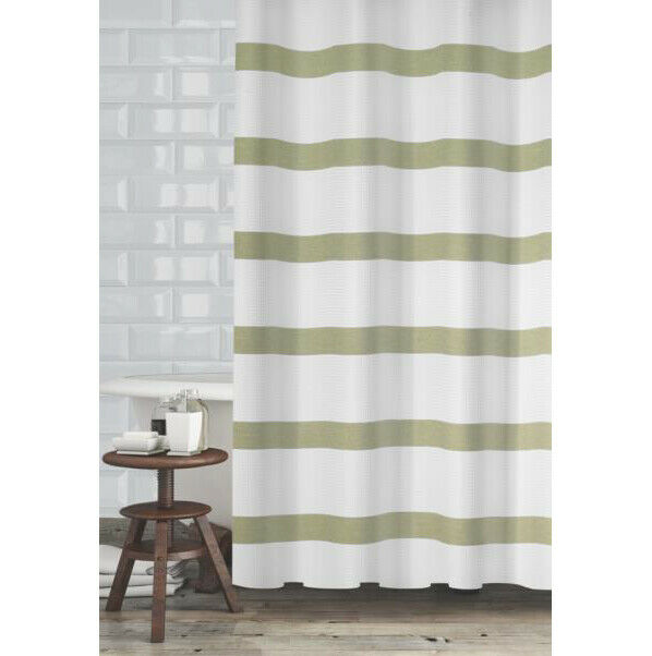 popular bath mulberry stripped fabric shower curtain sage 70x72 inches