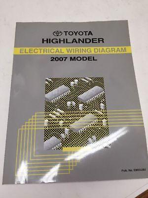 2007 toyota highlander oem factory electrical wiring diagram book  ebay