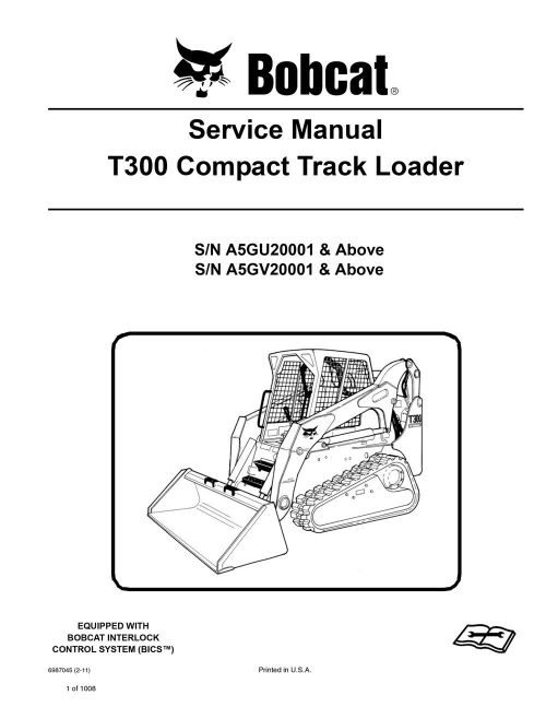 small resolution of bobcat t300 track loader service manual shop repair book 4 part 6987045 ebay