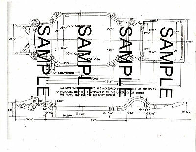 1966 FORD CUSTOM GALAXIE 66 FRAME DIAGRAM WITH DIMENSIONS