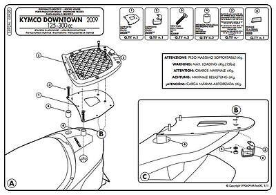 Givi rear rack for monolock top case kymco downtown 125