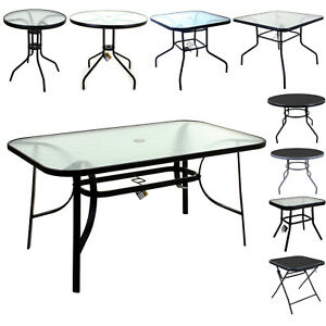 details about marko glass top tables metal frame legs garden outdoor indoor bistro cafe