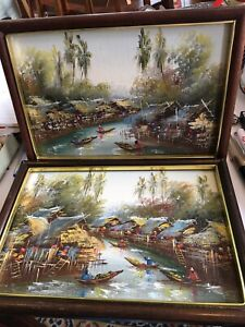 2 Oriental Oil Paintings May Be Chinese Vietnam Cambodia