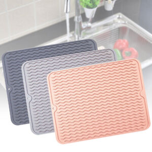 details about silicone dish draining mat drainer kitchen wash up tray drying mat 30 40cm happy