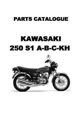 Kawasaki parts manual book 250cc S1-A, S1-B, S1-C & KH250