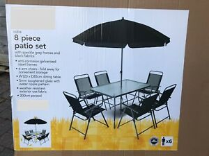 details about 8 piece patio outdoor garden table 6 chairs dining set furniture summer new