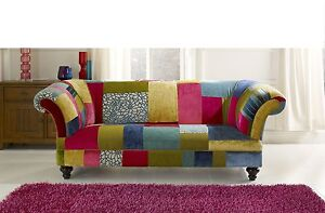 bright sofa grey with metal legs coloured patch work chesterfield brand new ebay