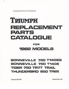 Triumph Parts Manual Book 1982 Tiger Trail 750 TR7T & 1982