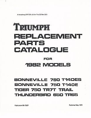 Triumph Parts Manual Book 1982 Tiger Trail 750 TR7T & 1982