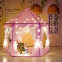 Girls Pink Princess Castle Cute Playhouse Play Tent
